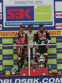Cal Crutchlow, Ryuichi Kiyonari, Troy Corser, race 2 podium