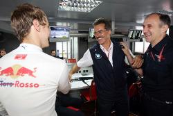 Pole winner Sebastian Vettel celebrates with Dr. Mario Theissen, BMW Sauber F1 Team, BMW Motorsport Director and Franz Tost, Scuderia Toro Rosso, Team Principal