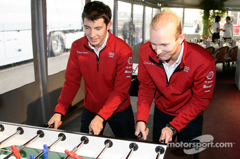 Mike Rockenfeller and Alexandre Prmat play fussball at the Audi Sport Team Joest hospitality