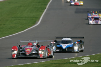 #1 Audi Sport Team Joest Audi R10 TDI: Allan McNish, Rinaldo Capello leads #8 Team Peugeot Total Peugeot 908 HDi-FAP: Pedro Lamy, Stphane Sarrazin