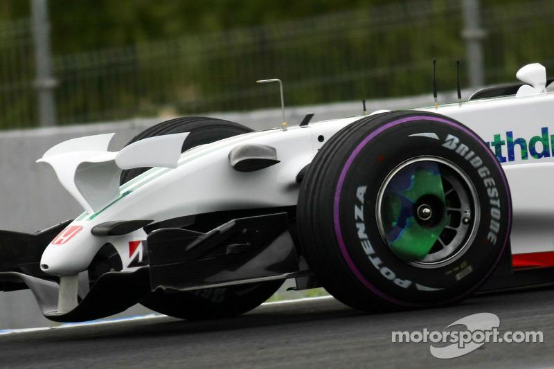 Alexander Wurz, Testfahrer, Honda Racing F1 Team, RA108, Pink Tyre wall