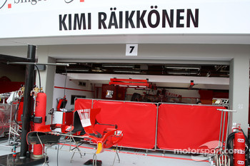 Screens up outside the garage of Kimi Raikkonen, Scuderia Ferrari