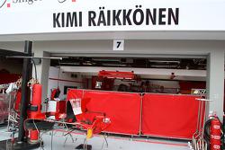 Screens up outside the garage of Kimi Raikkonen, Scuderia Ferrari