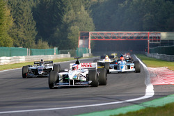 1st lap at Les Combes: #10 Frits Van Eerd (NL) VES Racing, F1 Tyrrell 026 Ford 3.0 V8, #23 Ingo Gerstl (A) TopSpeed, WS Dallara Renault 3.5 V6, and #4 Marijn Van Kalmthout (NL) Van Kalmthout Auto, F1 Tyrell 023 Yamaha 3.0 V10
