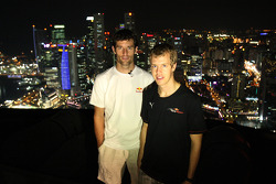 Mark Webber and Sebastian Vettel at the Heli Port of the Swiss Hotel
