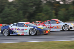 #71 Tafel Racing Ferrari F430 GT: Dominik Farnbacher, Dirk Farnbacher passes #46 Flying Lizard Motorsports Porsche GT3 RSR: Johannes van Overbeek, Patrick Pilet