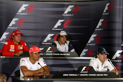FIA Thursday press conference: Kimi Raikkonen, Scuderia Ferrari, Lewis Hamilton, McLaren Mercedes, Fernando Alonso, Renault F1 Team, Robert Kubica,  BMW Sauber F1 Team