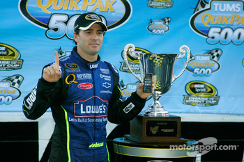 Victory lane: race winner Jimmie Johnson