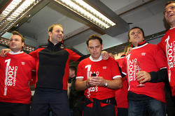 Championship celebration party in the Audi Sport Team pitbox: Thomas Biermaier, Hans Jürgen Abt and Christian Abt
