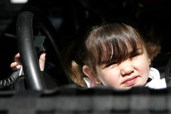 Juan Pablo Montoya's daughter Paulina sits in the Havoline Dodge
