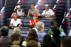 FIA press conference: Lewis Hamilton, Felipe Massa, Nelson A. Piquet, David Coulthard and Rubens Barrichello