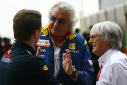 Christian Horner, Red Bull Racing, Sporting Director, Flavio Briatore, Renault F1 Team, Team Chief, Managing Director and Bernie Ecclestone, President and CEO of Formula One Management