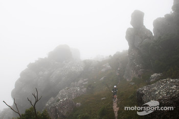 Launceston, Australia: Team Red Bull cross the peak of Mount Claude