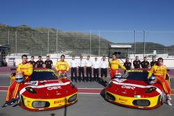 BMS Scuderia Italia photoshoot: Matteo Malucelli, Paolo Ruberti, Joel Camathias and Jose Manuel Balbiani pose with their team
