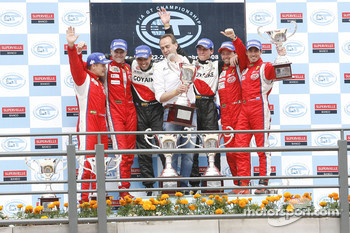 GT2 podium: class winners Matias Russo and Luis Perez Companc, second place Toni Vilander and Gianmaria Bruni, third place Thomas Biagi and Christian Montanari