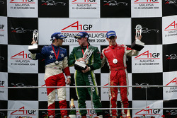 Podium: race winner Adam Carroll, second place Filipe Albuquerque, third place Marco Andretti