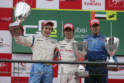 Podium: race winner Kamui Kobayashi, second place Davide Valsecchi, third place Roldan Rodriguez