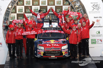 Podium: rally winners Sébastien Loeb and Daniel Elena celebrate win and Citroen's 2008 World Championship with teammates Daniel Sordo and Marc Marti, and Citroen Total World Rally team members