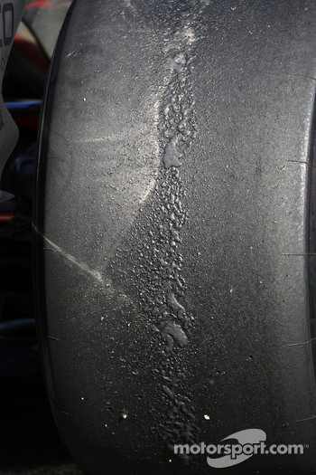 Rear Bridgestone tyre on a McLaren Mercedes