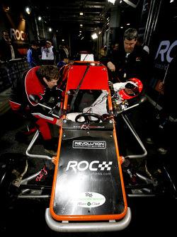 Michael Schumacher climbs into an RX150 Buggy