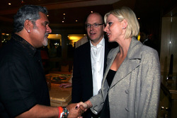 Dr Vijay Mallya Force India F1 Team Owner meets HSH Prince Albert of Monaco at the Kingfisher boat party on the Indian Empress