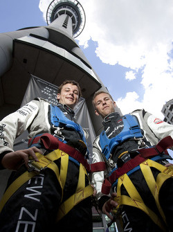 Earl Bamber and Chris van der Drift shortly after their Skyjump