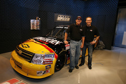 NASCAR Camping World Truck Series driver Ron Hornaday, poses with team owner Kevin Harvick