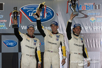 GT1 podium: second place Marcel Fassler, Oliver Gavin and Olivier Beretta