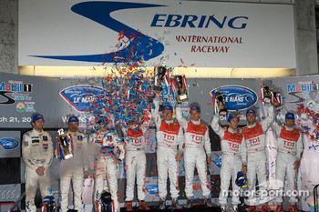 P1 podium: class and overall winners Allan McNish, Tom Kristensen and Rinaldo Capello, second place Franck Montagny, Stéphane Sarrazin and Sébastien Bourdais, third place Mike Rockenfeller, Lucas Luhr and Marco Werner