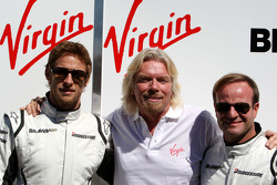 Jenson Button, Brawn GP, Rubens Barrichello, Brawn GP and Sir Richard Branson CEO of the Virgin Group makes and announcement regarding the Virgin sponsorship deal with Brawn GP