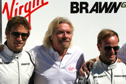 Sir Richard Branson CEO of the Virgin Group makes and announcement regarding the Virgin sponsorship deal with Brawn GP, Jenson Button, Brawn GP, Sir Richard Branson, Virgin Group CEO and Rubens Barrichello, Brawn GP