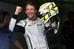 Pole winner Jenson Button, Brawn GP, celebrates