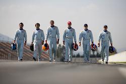 Aston Martin Racing drivers photoshoot: Darren Turner, Miguel Ramos, Harold Primat, Stefan Mücke, Jan Charouz and Tomas Enge