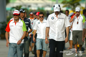 Giancarlo Fisichella, Force India and Robert Kubica, BMW Sauber
