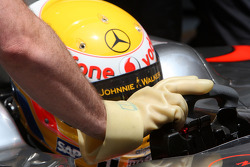 Lewis Hamilton, McLaren Mercedes, gloves protect from KERS