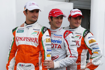 Vitantonio Liuzzi, Test Driver, Force India F1 Team, Jarno Trulli, Toyota Racing, Giancarlo Fisichella, Force India F1 Team, support for the Italian earthquake victims