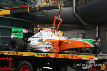 The car of Adrian Sutil, Force India F1 Team after a crash