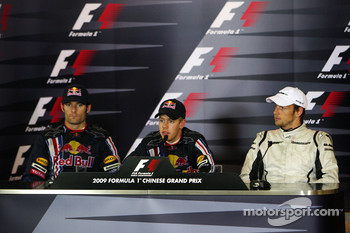 FIA press conference: race winner Sebastian Vettel, Red Bull Racing, second place Mark Webber, Red Bull Racing, third place Jenson Button, Brawn GP