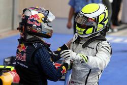 Race winner Jenson Button, Brawn GP celebrates with Sebastian Vettel, Red Bull Racing