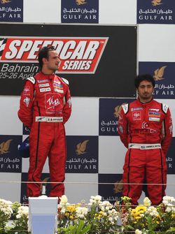 The podium: Race winner Vitantonio Liuzzi UP Team with third placed Hasher Al Maktoum UP Team