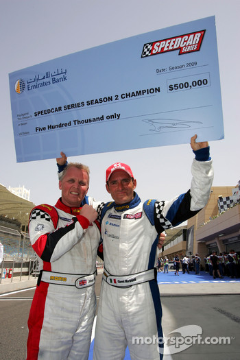 Johnny Herbert JMB congratulates Gianni Morbidelli Palm Beach Speedcar Series Champion