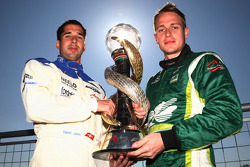 Neel Jani, driver of A1 Team Switzerland with Adam Carroll, driver of A1 Team Ireland and the A1GP Championship trophy