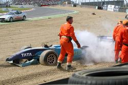 The car of Narain Karthikeyan, driver of A1 Team India after a crash