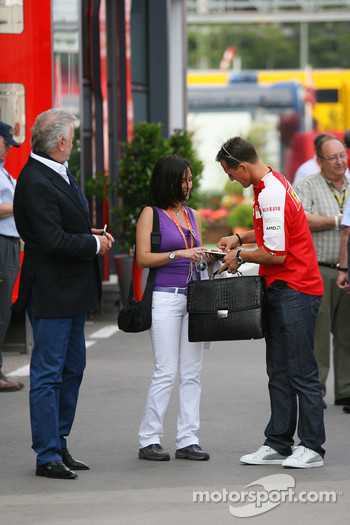 Willi Weber, Driver Manager and Michael Schumacher, Test Driver, Scuderia Ferrari