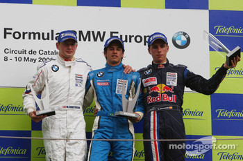 Podium, Michael Christensen, Muecke Motorsport, Luiz Felipe Nasr, Eurointernational and Daniel Juncadella, Eurointernational