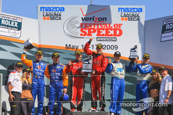 DP podium: class and overall winners Jon Fogarty and Alex Gurney, second place Scott Pruett and Memo Rojas, third place Max Angelelli and Brian Frisselle