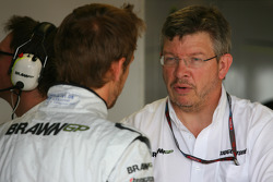 Jenson Button, Brawn GP and Ross Brawn Brawn Grand Prix Team Principal