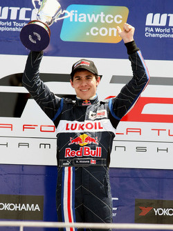 Race winner Robert Wickens on the podium