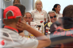 A meeting of Team Principles and drivers is held in the Toyota motorhome, John Howett, Toyota F1 Team, President TMG, Flavio Briatore, Renault F1 Team, Team Chief, Managing Director