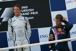 Podium: race winner Jenson Button, Brawn GP with third place Sebastian Vettel, Red Bull Racing